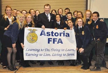 Hannah Brause with her students from Astoria FFA